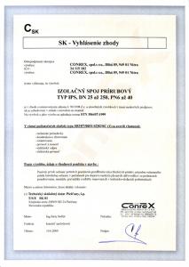Vyhlásenie zhody - Izolačný spoj prírubový typ IPS