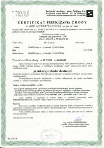 Certifikát zhody Izolačný spoj prírubový